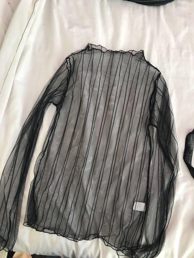 *REDUCED* Black mesh top