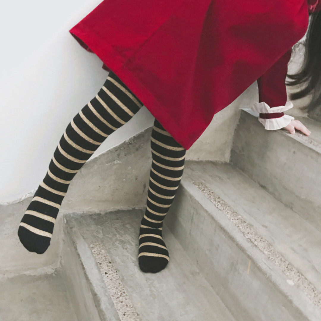 2387a88fe0ebe ✓️STOCK - KOREAN STYLE GOLD BLACK STRIPE HIGH SOCKS NEWBORN ...