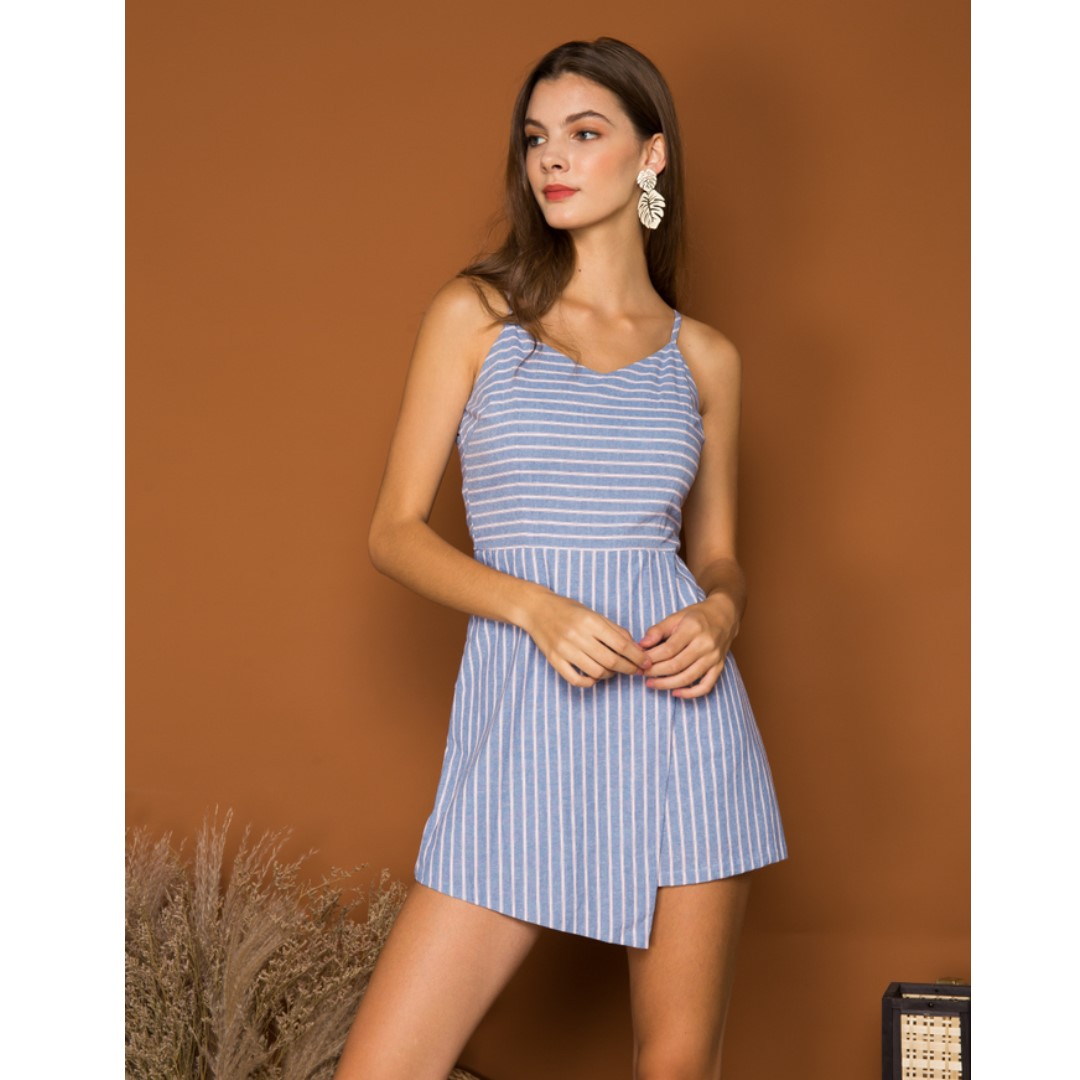 676bbc9737ea THE STAGE WALK (TSW) CAMBRIE STRIPED OVERLAY ROMPER IN BLUE