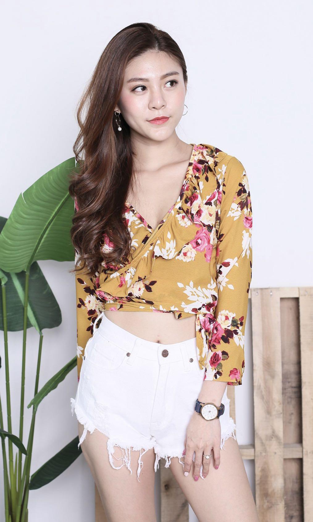 33cb760794038b Wrap Top] Raine Floral Wrap Top Mustard, Topazette, Women's Fashion ...