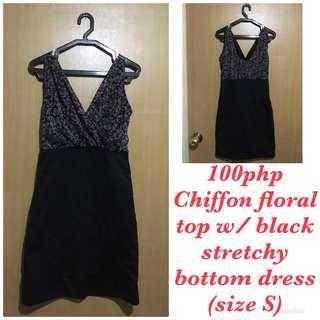 Chiffon floral top with black stretch bottom dress (sleeveless) for Women