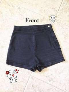 (a) High Waisted Shorts (Black)