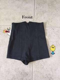 (b) High Waisted Shorts (Black)