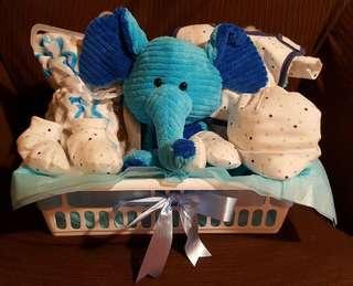 "Baby Boy Gift Basket with 10"" Elephant stuffed animal, fleece blanket, and 5 pieces matching set 100% cotton"