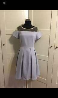 Light blue dress/powder blue dress/ baby blue dress/ short sleeve dress: /pleated dress/ fit and flare dress/ organza dress