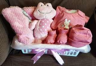 "Baby Girl Gift Basket with 8"" Frog stuffed animal, fleece blanket, and 4 pieces matching items 100% cotton"