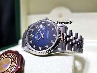 Rare 2 tone Blue 31mm ROLEX DATEJUST White Gold Orig 10 Diamonds dial !