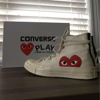 Converse x Comme des Garcons Play - White High Top Sneakers (W8)