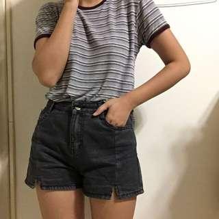 灰色丹寧短褲