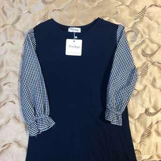 🚚 🙌可議價🙌全新重藍色格子洋裝魚尾裙
