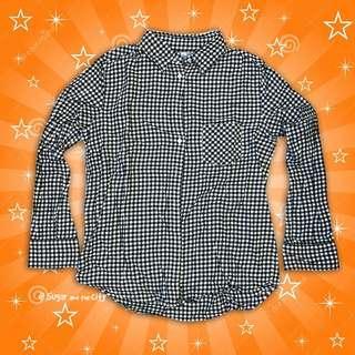 Uniqlo 🐧 小格子 野餐風 森林系 文青風 黑白格 襯衫