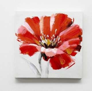 Art on Canvas - red flower 30x30