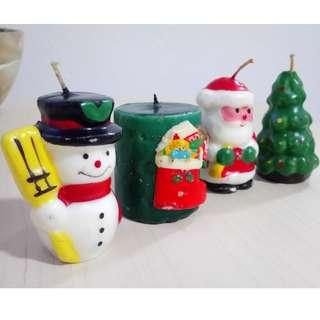BN Snowman, x'mas stocking, candy cane, santa claus, christmas tree candles