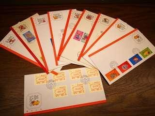 香港 十二生肖 郵票 首日封 共10套 stamp