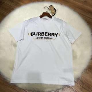 Burberry Double Logo Print Cotton T-Shirt