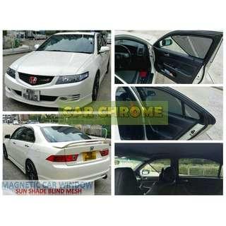 本田雅閣 Accord CL7 CL9 專用全車磁石版本窗網 一套5件: 包括: 前窗 x 2、中門 x 2、尾門窗 x 1 (MAGNETIC CAR WINDOW SUN SHADE BLIND MESH)