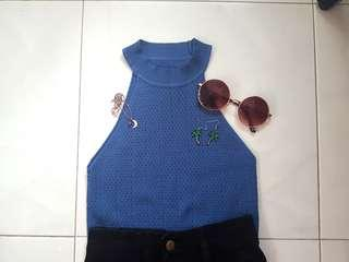 Blue knitted halter top #single11