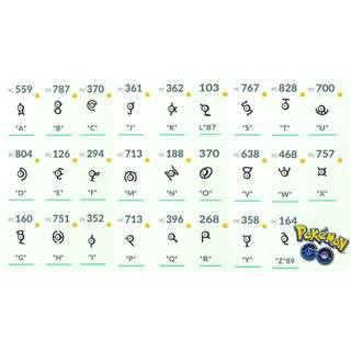 🚚 $10 each - Pokemon Go Unown (Various)