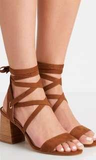 Forever new tan strappy block laceup heels