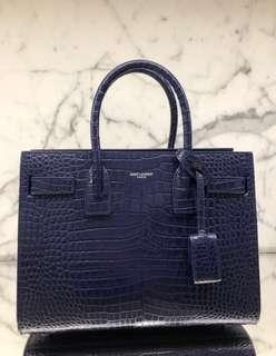 Authentic BNIB Yves Saint Laurent (YSL) Classic Sac De Jour Baby In Embossed Crocodile Shiny Leather Bag In Blue With Receipt