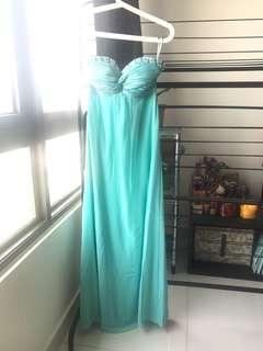 turquoise tube dinner dress