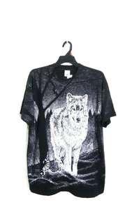Vintage 90's full print wolf t shirt