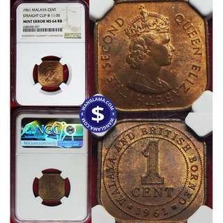 1961 Malaya 1 cent Straight Clip @ 11:00 Mint Error Graded NGC MS 64 RB