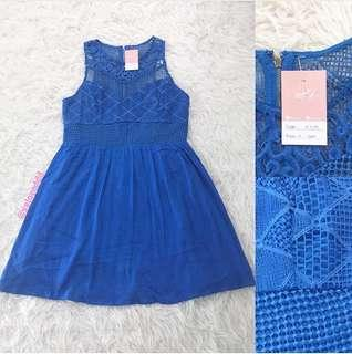 VL7272 Korean torquoise crochet lace dress