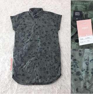 VL7250 G2000 khaki green abs button shirt dress