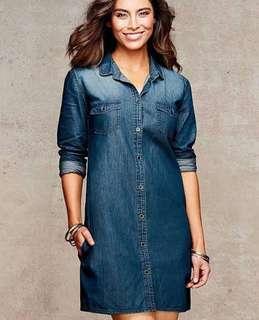 VL7249 Converse denim button shirt dress