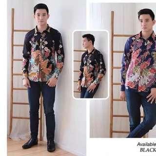 New Kemeja Batik Hitam