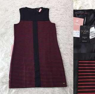 VL7281 New SODA black red stripe shift dress
