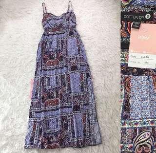 VL6713 Cotton on purple ethnic print double side slit maxi dress