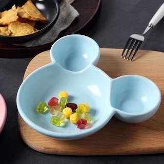 🚚 米奇造型藍色陶瓷碗