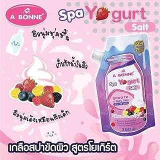 Authentic SUPERBRANDS A BONNE' Multi-Fruit Spa Yogurt Milk Bath Salt Whitening Smooth & Baby Skin Moisturizing Spa Yogurt Milk Salt Home Spa Skin Body  Scrub (350g)