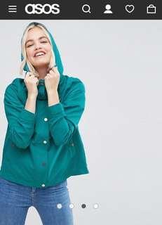 ASOS Waterproof Hoodie In Jade - Size M