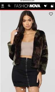 Faux fur camo print jacket
