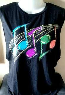 Black with Handpainted musical notes .XL