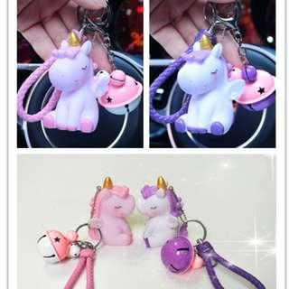 Cute Unicorn Key Chain Car Hanging Accessories Bell Decoration Beautiful Toys