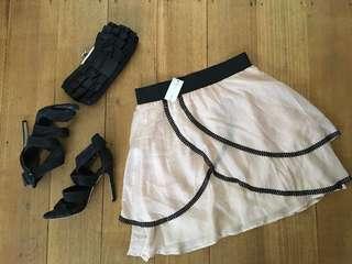 Helena Sorel Intrepide Apricot Silk Skirt Size 38 BNWT $279 RRP