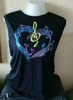 G-clef with Heart design Handpainted Black shirt size L