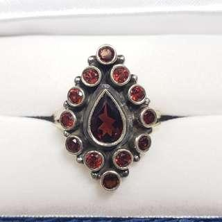 Stamped 925 Sterling Silver Garnet Ring, Size: 8