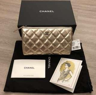 Chanel Metallic Rose Gold Pouch/ Ocase