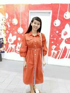 Soft Denim Long Orange Dress
