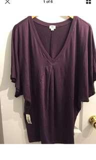 NWT Wilfred | Aritzia Plum Short Sleeve Knit Top Size XS