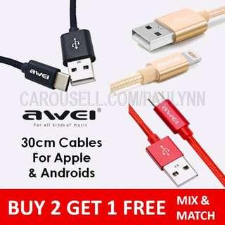 #single11 ❤️ Awei 30 cm Lightning Cable Or Type C Micro USB
