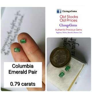 0.79 carats Emerald pair Columbia Great value price
