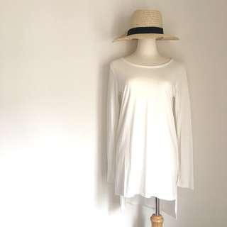 🚚 Meier.Q簡約白色長版上衣洋裝