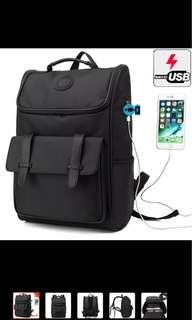 Unisex USB Travel Laptop Waterproof Nylon Leather Backpacks