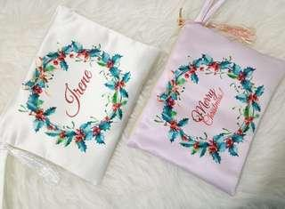 PERSONALISED POUCH - customize christmas gift present hampers santa claus canvas birthday baby bag